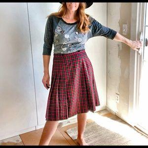 Vintage 90s Plaid Tartan Knee Length Skirt Large